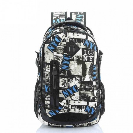 Black White Blue Canvas Travel Backpack Statue of Liberty Monogrammed School Book Bag Korean Style Casual 14 Inch Laptop Bag