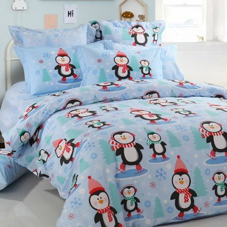 Light Blue Red Black and White Penguin and Snowflake Print Cartoon Animal 100% Cotton Twin, Full, Queen Size Bedding Sets for Kids