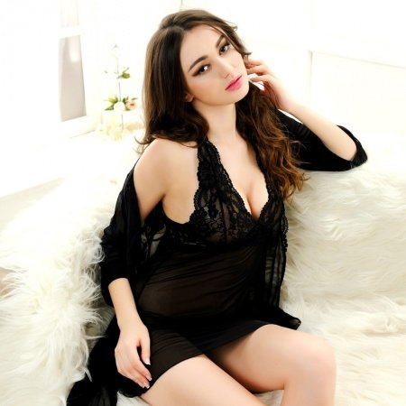 Black Sexy Transparent Seductive See-through Embroidered Halter Top Deep V Skirt Wide Straps Long Sleeve Thin M L Pajamas