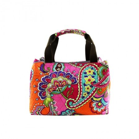 Durable Handmade Canvas Women Small Tote Bag Colorful Western Paisley and Floral Print Casual Diamond Pattern Shopping Purse
