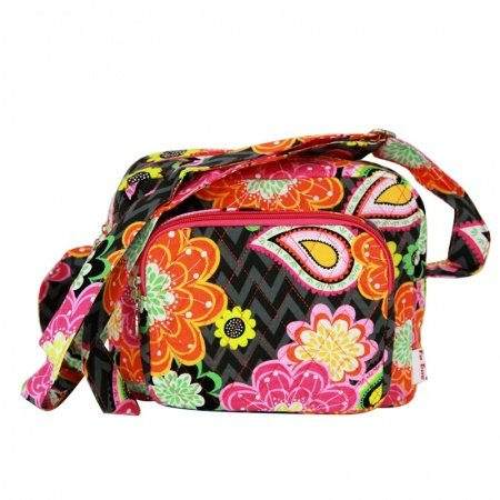 Durable Canvas Colorful Aztec Chevron Stripe Paisley Floral Print Box-shaped Crossbody Bag Stylish Bohemian Hippie Style Small Shoulder Bag