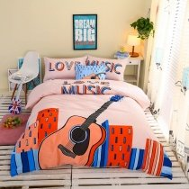 Orange Blue and Pale Pink Guitar Print City Chic Rock Street Music Themed Hipster Style 100% Cotton Twin, Full Size Bedding Sets