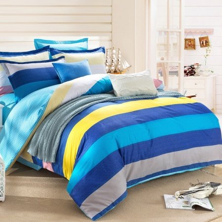 Boys Ocean Blue Aqua Yellow and Grey Nautical Stripe Print Modern Chic Simply Chic Reversible 100% Cotton Twin, Full Size Bedding Sets
