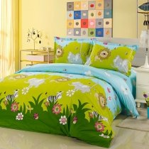 Boys Hunter Green Lime and Light Blue Jungle Safari Themed Ladybug Elephant Zebra Lion Print 100% Cotton Twin, Full Size Bedding Sets