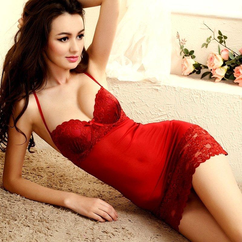 Rose Red Trendy Vogue Polyamide Bud Silk Lace Criss-cross V-neck Spaghetti Strap Skirt Corset Backless Sleeveless Pajamas