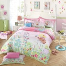 Pink Lime Green and Light Blue Girls Guitar Print Secret Garden Pastel Style French Country 100% Cotton Full, Queen Size Bedding Sets