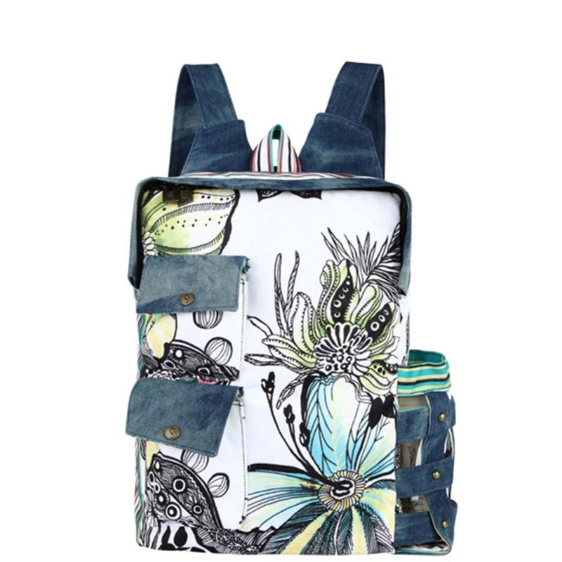 Denim Blue Black White Canvas Casual Preppy School Book Bag Stylish Hawaiian Floral Travel Backpack Durable Women Large 16 Inch Laptop Bag