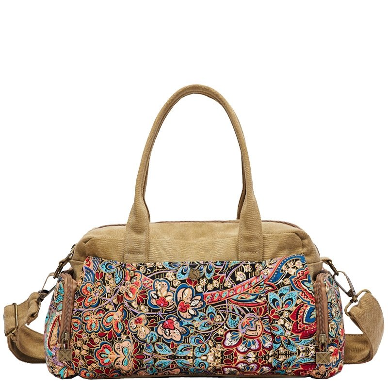 Vintage Durable Canvas Gorgeous Casual Women Boston Tote Camel Brown Blue Red Bohemian Western Floral Crossbody Shoulder Handle Bag
