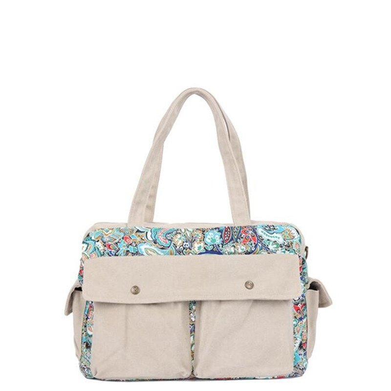 Durable Beige Jean with Colorful Western Floral Casual Lady Large Diaper Tote High Fashion Zipper Crossbody Shoulder Handle Bag