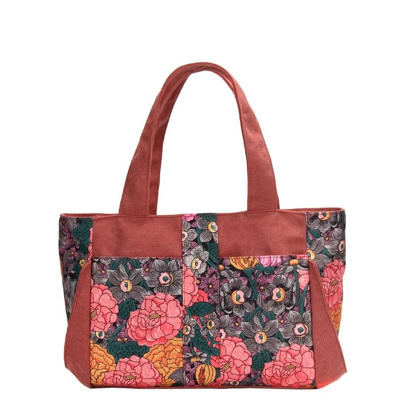 Patchwork Burgundy Red Canvas with Taupe Teal Western Floral Diaper Tote Bag Luxury Stylish Vintage Casual Women Small Handle Bag