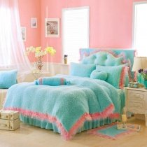 Girls Turquoise and Pink Modern Chic Feminine Feel Elegant Lace Edge Princess Style Flannel Twin, Full, Queen Size Bedding Sets