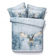 Carolina Blue White and Brown Eagle Print African Safari Jungle Animal 3D Design Modal Fiber Twin, Full, Queen, King Size Bedding Sets
