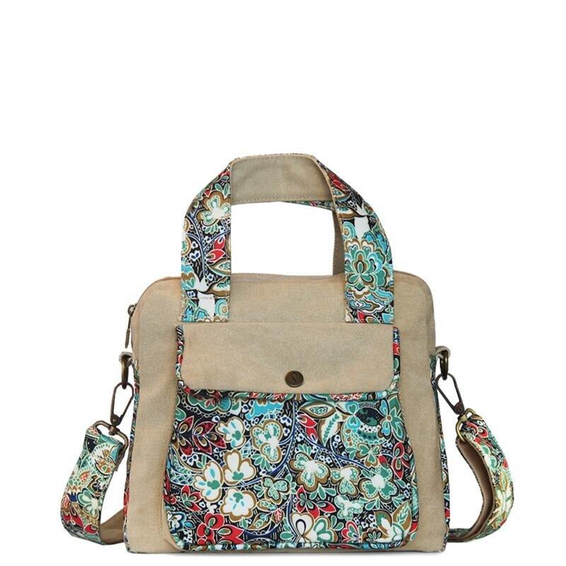 Colorful Vintage Durable Canvas Zipper Casual Women Tote Stylish Bohemian Tribal Print Western Floral Crossbody Shoulder Handle Bag