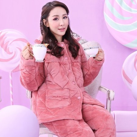Solid Claret Red Warm Retro Chic Women Girls Thicken Flannel Cotton 3 Layer Long Sleeve Shirt Trousers 2pc Winter Pajamas