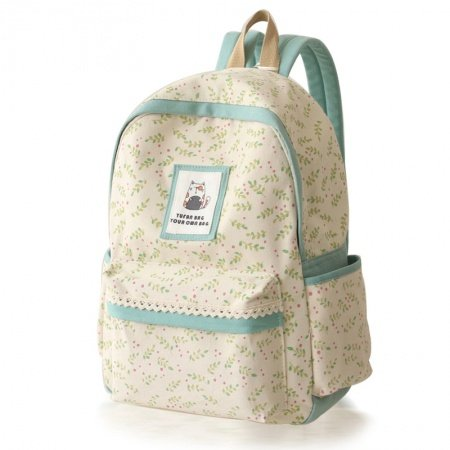 High Fashion Beige Canvas with Green Trim Lace Junior Preppy School Book Bag Stylish Hawaiian Leaf Sewing Pattern Laptop Backpack