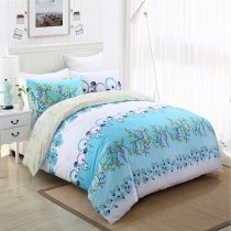 Aqua Green and White Modern Country Tropical Flower Print Rustic Style 100% Cotton Damask Full, Queen Size Bedding Sets