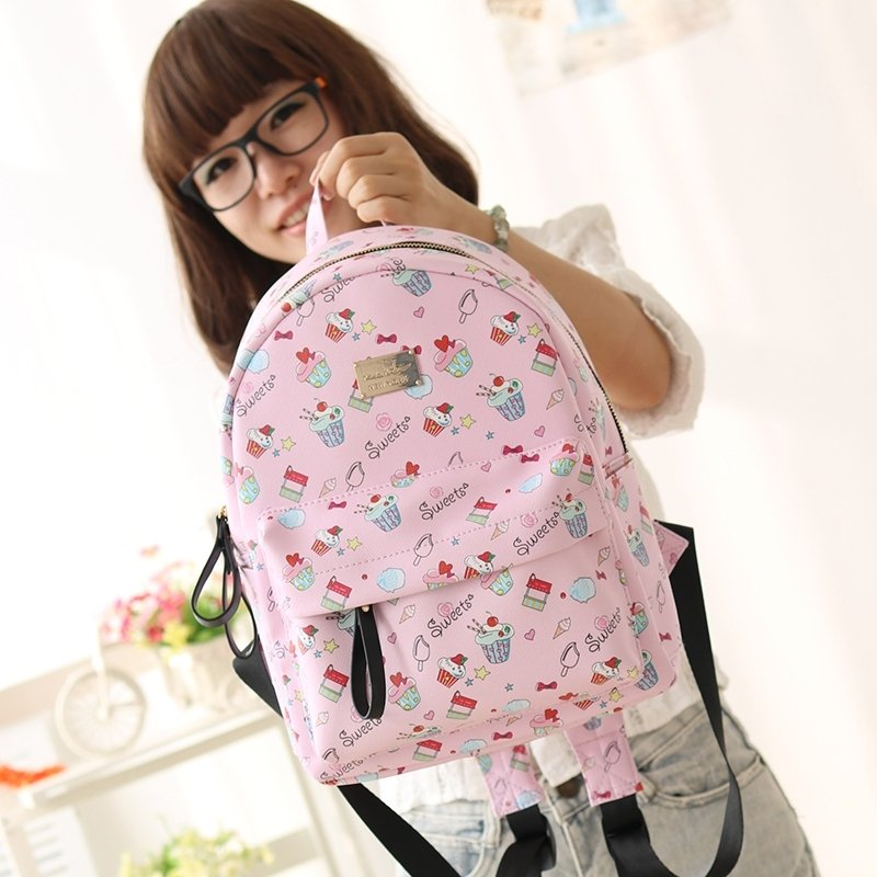 Durable Pink Faux Leather Girls Preppy Book Bag Hip-hop Colorful Monogrammed Cute Bow and Heart Girly Junior Small School Backpack