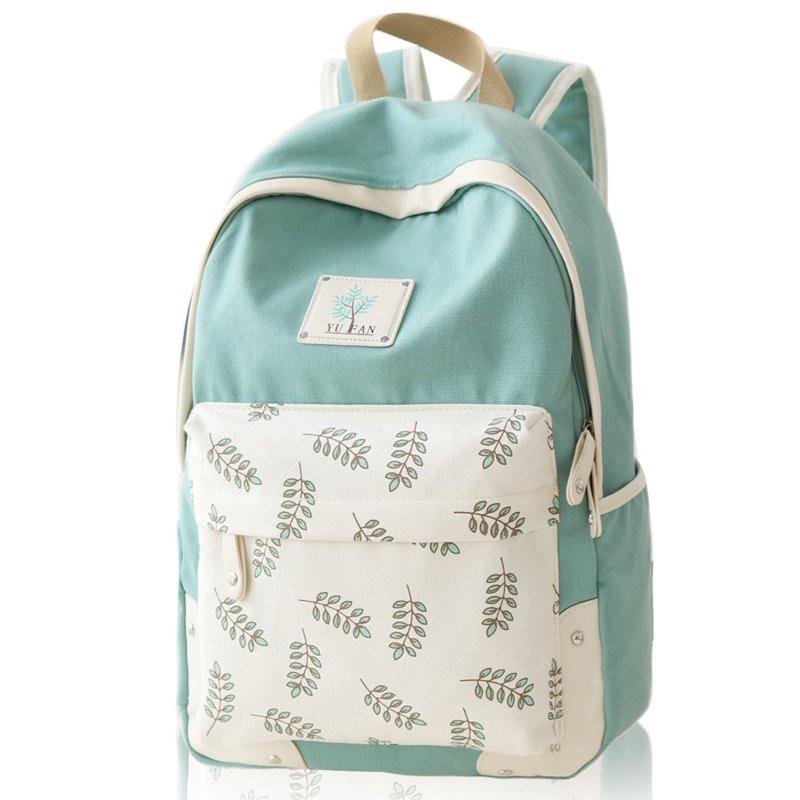 Durable Pea Green Beige Canvas Zipper Girls Preppy School Book Bag Stylish Leaf Pattern 15 Inch Laptop Backpack Casual Hiking Travel Bag