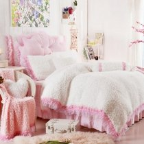 Off-White Solid Color and Pink Lace Romantic Wedding Themed Fashion and Elegant Flannel Twin, Full, Queen Size Bedding Sets for Girl