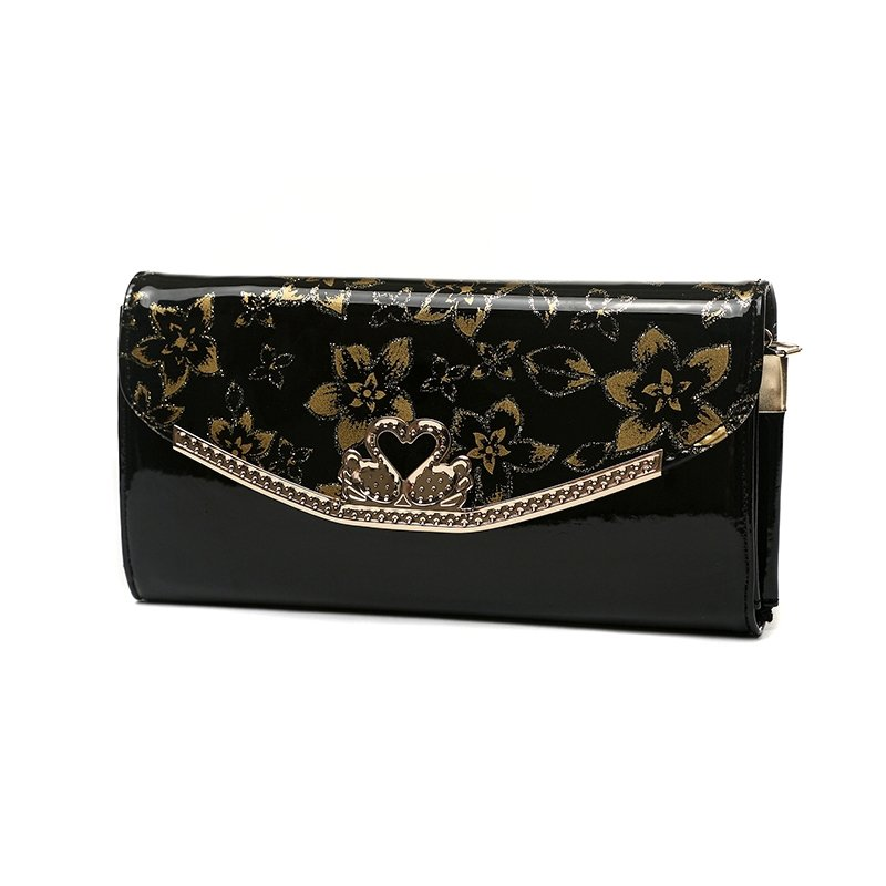 Black Patent Leather with Gold Flower Women Flap Envelope Evening Clutch Vintage Magnetic Closure Casual Party Crossbody Shoulder Bag