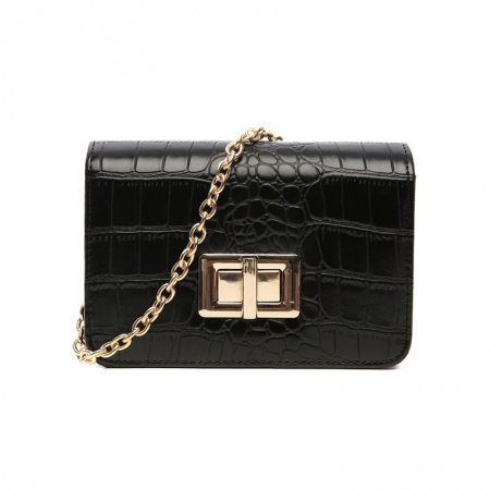 Durable Black Faux Leather Embossed Crocodile Vintage Lock Closure Sewing Pattern Women Casual Party Chain Flap Crossbody Shoulder Bag