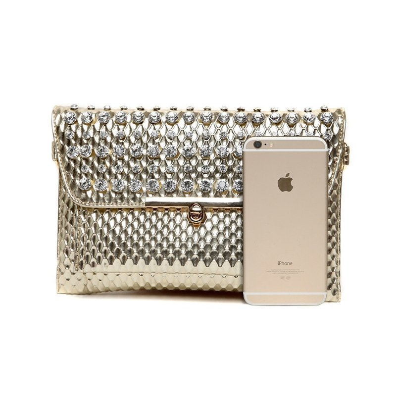 Durable Gold Patent Leather Embossed Snakeskin Women Flap Evening Clutch Trend Rhinestone Studded Sequined Crossbody Shoulder Bag