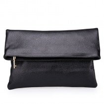 Trend Black Genuine Cowhide Leather Casual Evening Party Folding Envelope Clutch Boutique Sewing Pattern Durable Crossbody Shoulder Bag