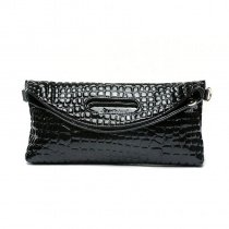 Stylish Black Patent Leather Embossed Crocodile Casual Party Evening Clutch Personalized Sewing Pattern Women Small Crossbody Shoulder Bag
