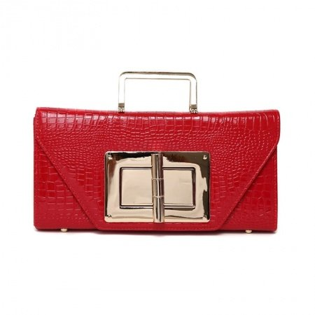 Vogue Red Patent Leather Sequined Envelope Evening Party Clutch Stylish Embossed Alligator Chain Strap Flap Crossbody Shoulder Tote Bag
