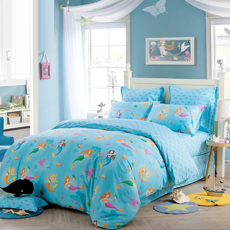 Aqua Blue Orange Purple and Green Stylish Mermaid Print Elegant Girls Princess Style 100% Cotton Twin, Full Size Bedding Sets