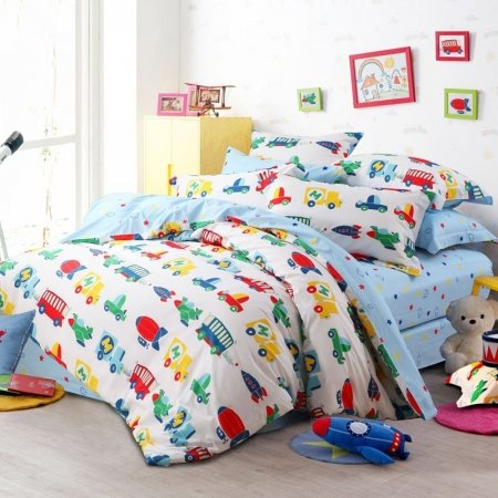 Red Yellow Blue and Green Boys and Kids Airplane, Rocket and Car Print Holiday Style 100% Cotton Damask Twin, Full, Queen Size Bedding Sets