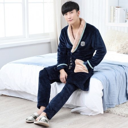 Solid Blue Waist Tie Long Sleeve Shirt and Trousers Thick Winter Warm Pajamas for Men Boys