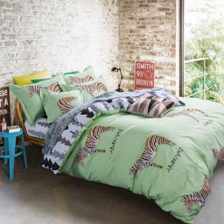 Light Green Brown Black and White Animal Zebra Print Jungle Safari Shabby Chic Reversible 100% Cotton Twin, Full Size Bedding Sets