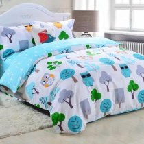 Kids Aqua Blue Green Grey and White Retro Night Owl Print Cute Style Reversible 100% Cotton Twin, Full Size Bedding Sets