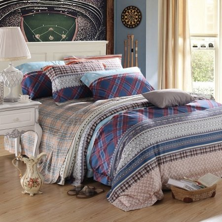 Iris Blue Camel Grey and Red Trellis Print Tribal Stripe Masculine Style Shabby Chic Luxury Egyptian Cotton Full, Queen Size Bedding Sets