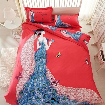 Peacock Blue Crimson Red and White Princess Style Butterfly Print Modern Chic Elegant Girls Brushed Cotton Full, Queen Size Bedding Sets