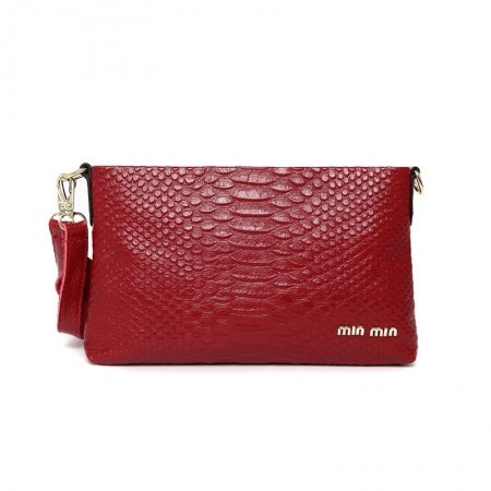 Gorgeous Garnet Red Genuine Cowhide Leather Evening Party Clutch Wristlet Hipster Embossed Crocodile Sequin Lady Crossbody Shoulder Bag