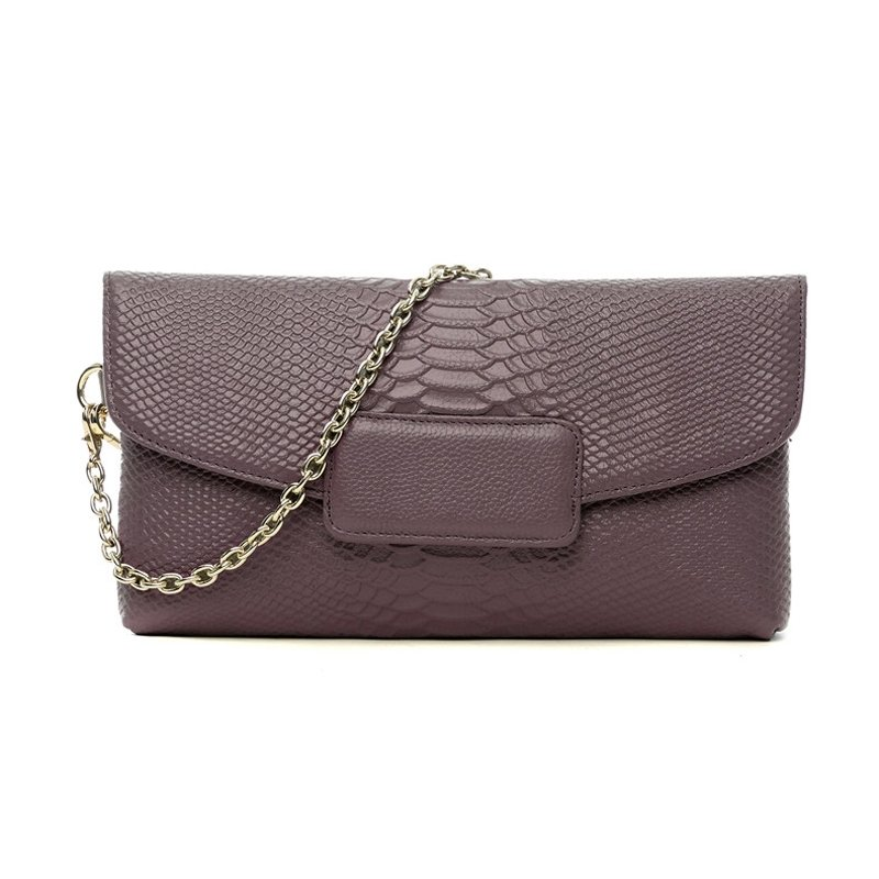 Durable Purple Genuine Cowhide Leather Embossed Crocodile Evening Party Envelope Clutch Gorgeous Chain Women Flap Crossbody Shoulder Bag