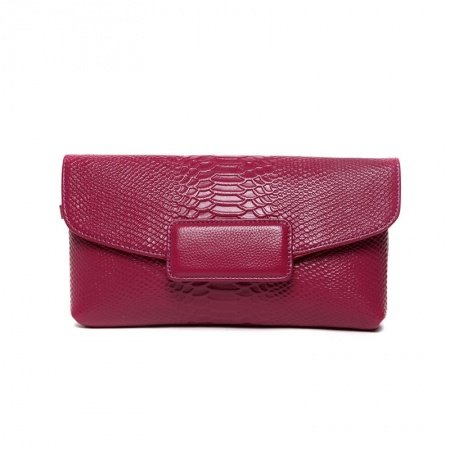 Durable Red-violet Genuine Cowhide Leather Embossed Crocodile Envelope Evening Clutch Gorgeous Chain Strap Flap Crossbody Shoulder Bag