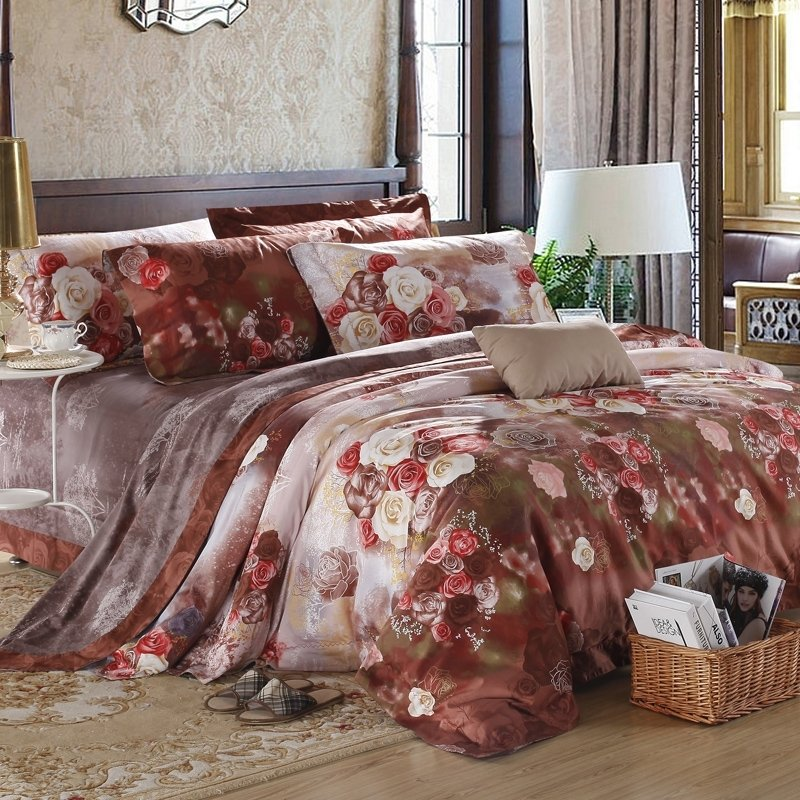 Cordovan Brown Red and White Antique Rose Print Earthy Old World Luxury Egyptian Cotton Full, Queen Size Reversible Bedding Sets