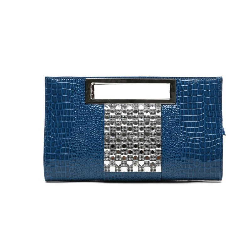 Peacock Blue Patent Leather Bling Rhinestone Lady Evening Party Clutch Gorgeous Embossed Alligator Chain Strap Crossbody Shoulder Tote Bag