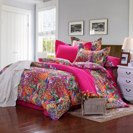 Red orange green and blue tropical hawaiian scene bohemian themed full queen size adults unique for Full size bedroom sets for adults