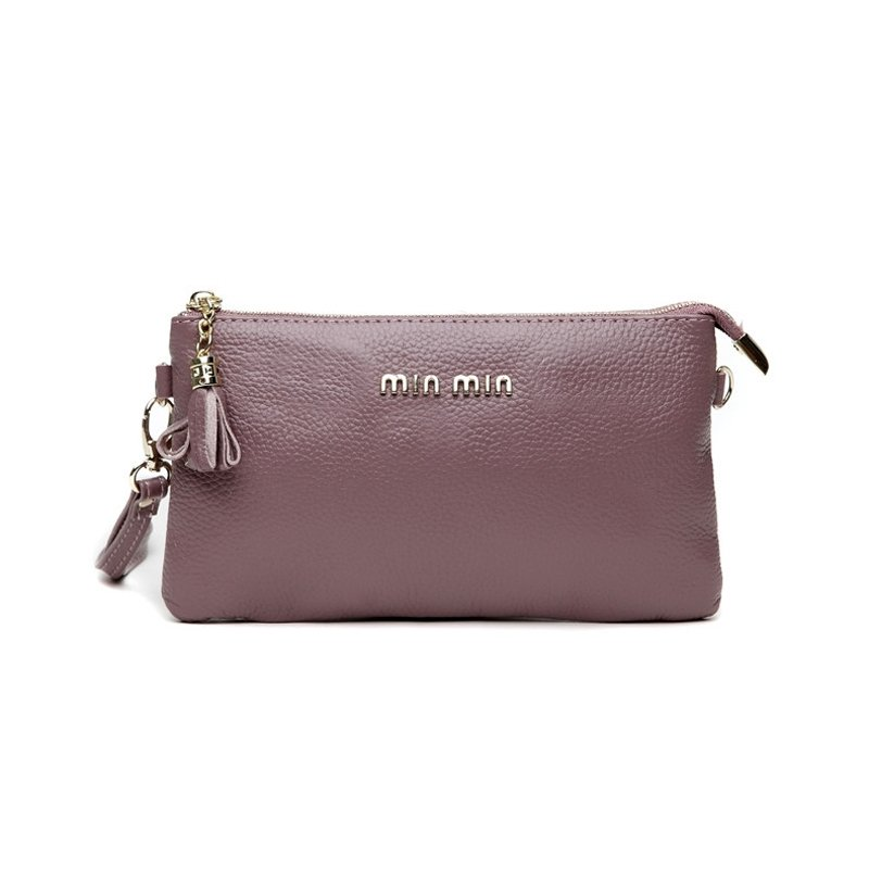 Gorgeous Purple Genuine Cowhide Leather Women Casual Party Clutch Wristlet Hipster Sewing Pattern Sequin Small Crossbody Shoulder Bag