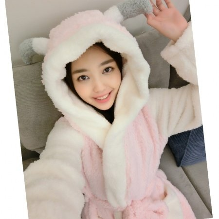 Cartoon Goat Pattern Bathrobe Robe Cute Spa Hooded Flannel Pajamas for Girls M L