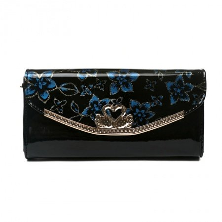 Black Patent Leather with Blue Flower Lady Flap Envelope Evening Clutch Vintage Magnetic Closure Casual Party Crossbody Shoulder Bag