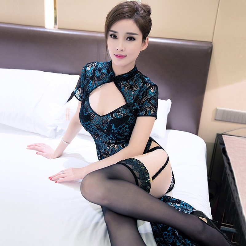 Peacock Pattern Cheongsam Garter Sexy Avant-garde Pajamas for Women M L