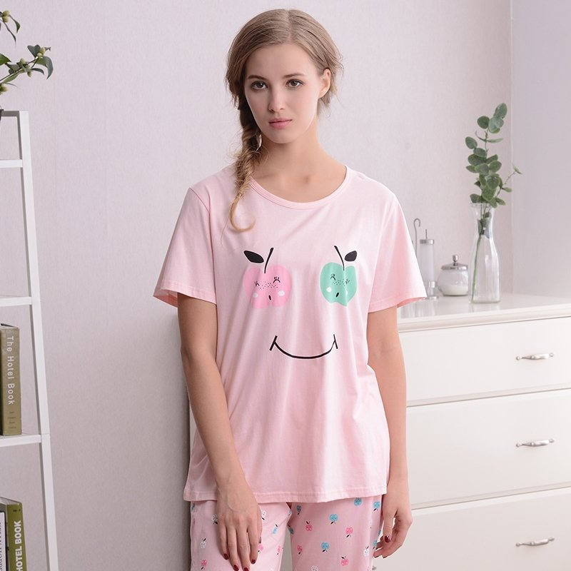 Fruit Apple and Smiley Face Emoji Print Cute 100% Cotton Pajamas for Girls M L XL