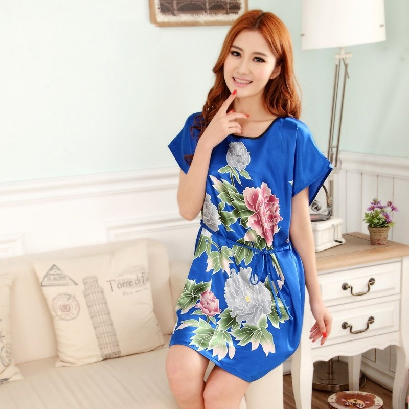 Diamond Blue Peony Flower Sexy Elegant One Piece Free Size Girls Pajamas