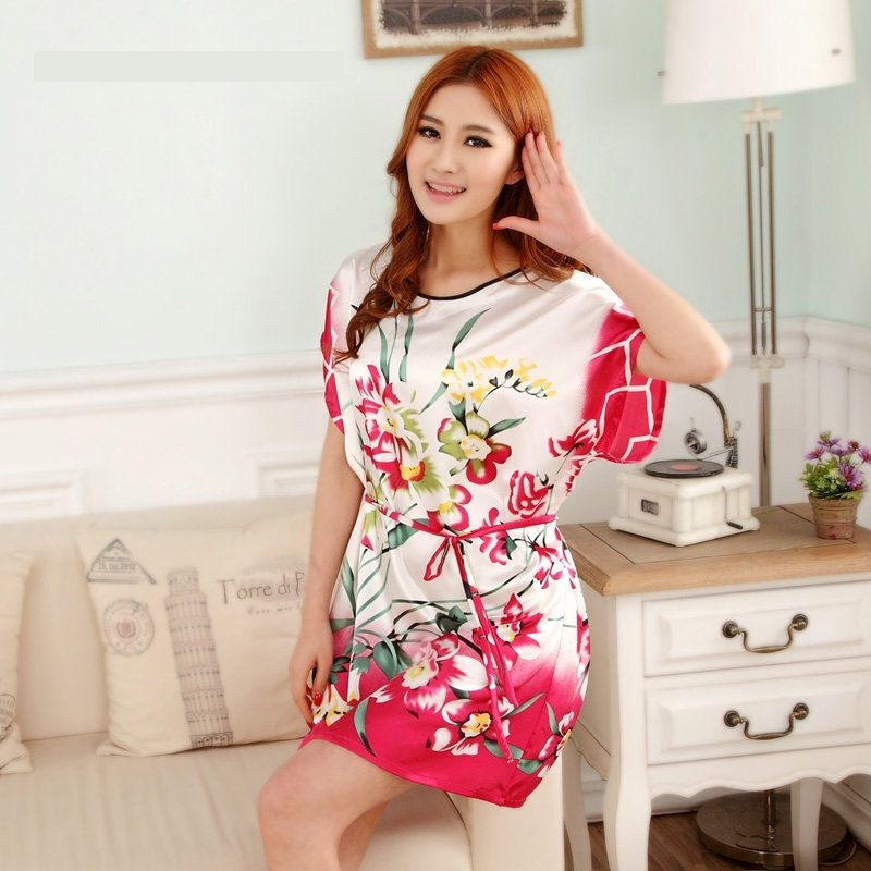 White Red Orchid Print Flower Sexy Elegant One Piece Dress Free Size Girls Pajamas