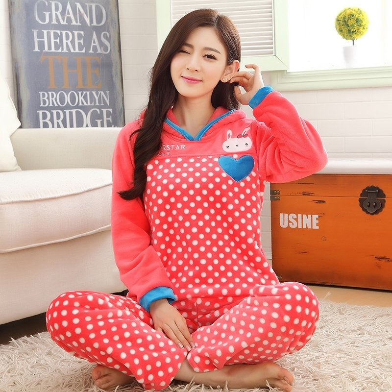Coral Cartoon Rabbit Bunny Polka Dots Flannel 2pc Hooded Shirt and Trousers Cute Pajamas for Girls M L XL XXL